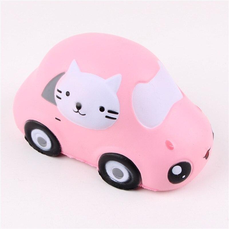 12 Pcs/Lot lente augmentation Squishy jouets Kitty chat voiture Jumbo Squishies paquet Original presser jouet amusant en gros nouveau 2018 rose jaune - 6