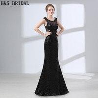H & S כלה שחור נצנצים בת ים שמלות הערב ארוך המפלגה שמלה סקסית חזרה שמלת ערב שנה החדשה שמלת ערב לנשים