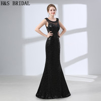 H S BRIDAL Black Mermaid Evening Dresses Long Sequined Party Gown Sexy Back Dress Evening New