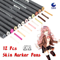 12 Colors Skin Tones Soft Double Headed Alcohol Based Sketch Marker Pens For Manga Professional Drawing Art Supplies