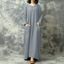 Vintage Women Loose Maxi Dress Casual Batwing Long Sleeves Pockets Plus Size Minimalist Pure Cotton Robe
