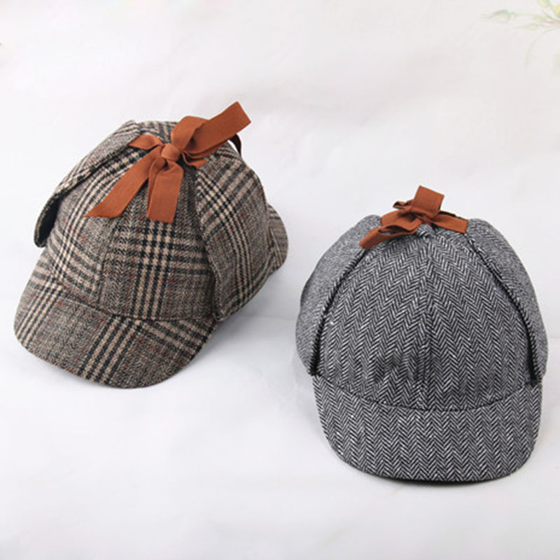 Man Women Deerstalker Hats Vintage Cool Street Hat Shylock Double Brim Cap Casual Travel Berets Hats NaroFace Fashion Cap