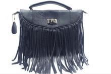 women'sa tassel genuine leather messenger bag first layer cowhide leather patchwork female handbag fashion punk style bag