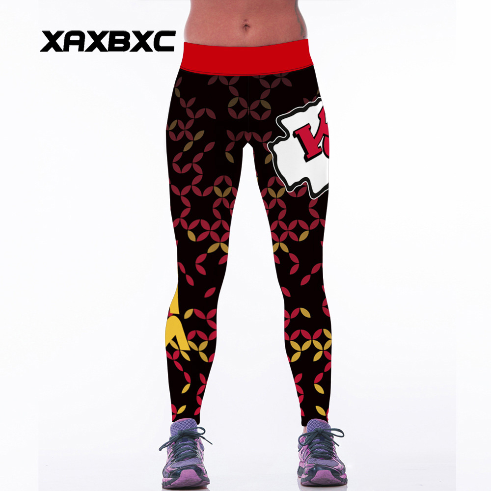 NEW 127 Sexy Girl Leggins USA rugby KC team 3D Prints Elastic High Waist Workout Fitness Women Leggings Pants Trousers
