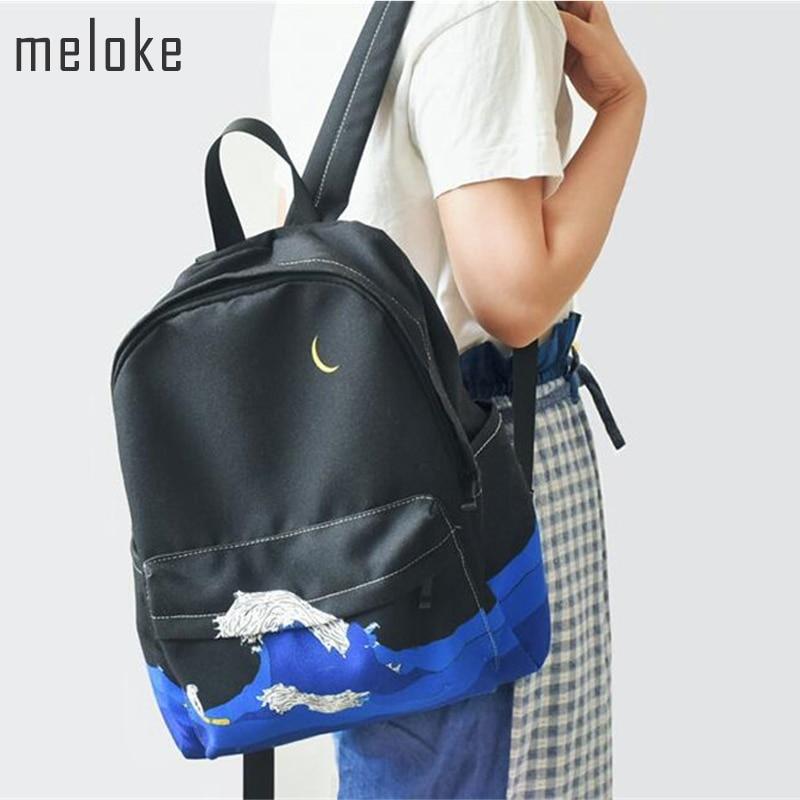 1197.49руб. 18% СКИДКА|Meloke 2019, новый рюкзак с пейзажной вышивкой, повседневный холщовый рюкзак, школьные сумки для девочек подростков, рюкзак Mochila-in Рюкзаки from Багаж и сумки on AliExpress - 11.11_Double 11_Singles