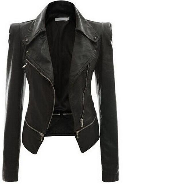 Preto Fino Motociclista Zipper Curto Mulheres Casaco Básico New Soft PU Jaqueta de Couro jaqueta de couro