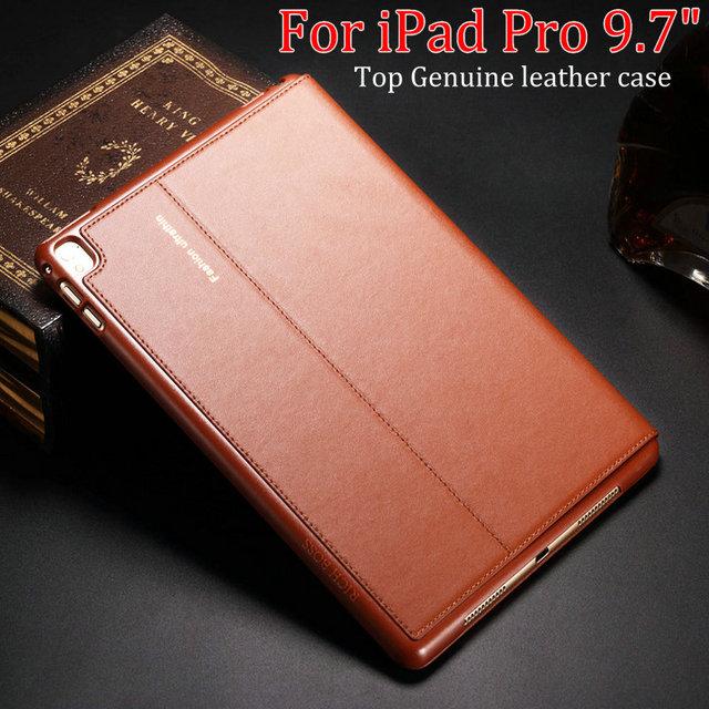 O mais novo top qualidade couro genuíno de proteção case para ipad pro 9.7 para ipad air3 smart cover para apple ipad pro 9.7 ''+ filme