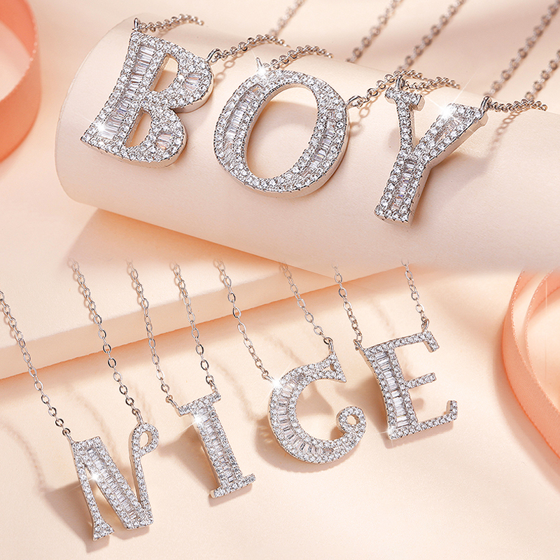 MODIAN 2019 NEW 925 Sterling Silver Luxury A to Z Clear CZ 26 Letter Fashion Pendant Necklace For Women Charm Necklace Best Gift in Necklaces from Jewelry Accessories