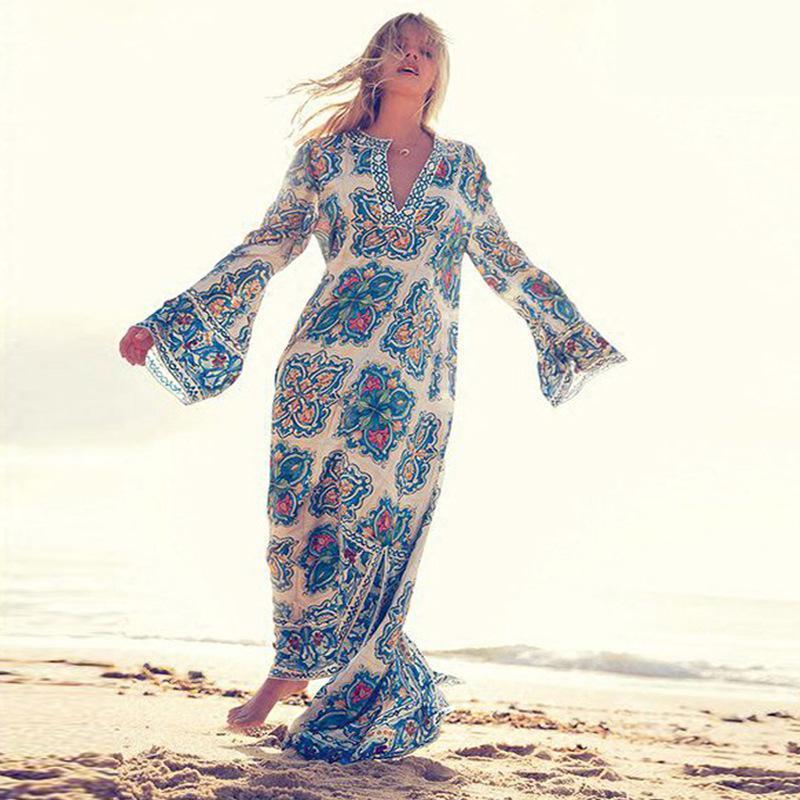 Fashion Women Bohemian Print V-Neck Long Sleeve Split Loose Maxi Dress Plus Size