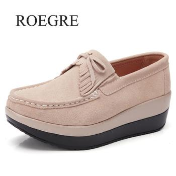 Sneakers 2019 New Women Flat Platform Loafers Shoes Ladies Suede Leather Hollow Casual Shoes Slip On Flats Moccasins Creepers