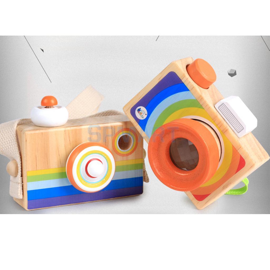 Kids Wooden Camera Toy Mini Cute Kaleidoscope Camera Kids