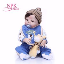 NPK 22''Full body Silicone bebes reborn Baby Doll painted Reborn Babies Lifelike Girl's toys Body For Kids Christmas lol boneca(China)