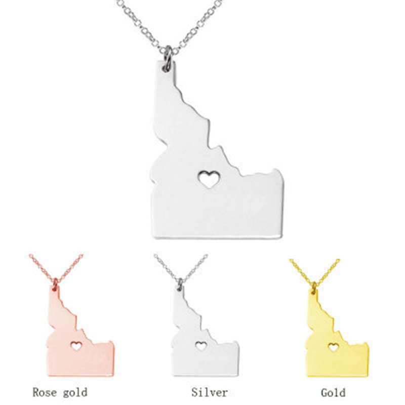 American Idaho Stainless Steel Necklace Personality United States Map Pendant Necklace T ...