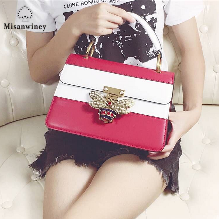 Misanwiney2017 women Color splicing Little bee Bags Fashion Zipper Designer Handbag Casual Shoulder Messenger Bag New Sac Femme side zipper design color block splicing crew neck sweatshirt