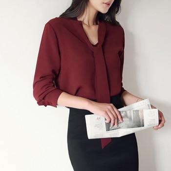 2018 autumn women clothing long sleeve bow tie women shirts Korean loose chiffon blouse shirt women solid color blouse 699C  30