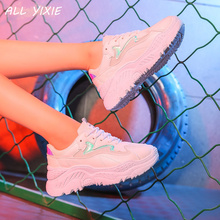 ALL YIXIE 2019 Summer Womens Platform Sneakers Fashion Mesh Breathable Women Casual Shoes Flats Zapatos De Mujer