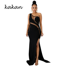 Kakan summer new womens dress hot drilling sexy slim split perspective irregular sleeveless black