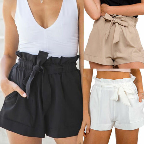 Women High Waist Shorts Bow Tie Belt Shorts Ladies Summer A-line Hot Loose Solid Color Short Mujer Femme Feminine