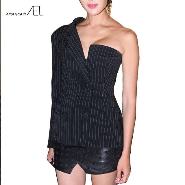 AEL אחד כתף בלייזר נשים חליפת דש פסים Ladys סתיו אופנה 2018 חדש גובה איכות רחוב ללבוש אסימטרית גאות