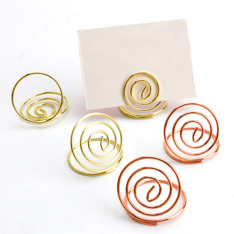 10 Pcs Rose Gold Circle Ring Wire Card Number Place Table Stand Picture Memo Note Photo Clips Holder Wedding Party Supplies