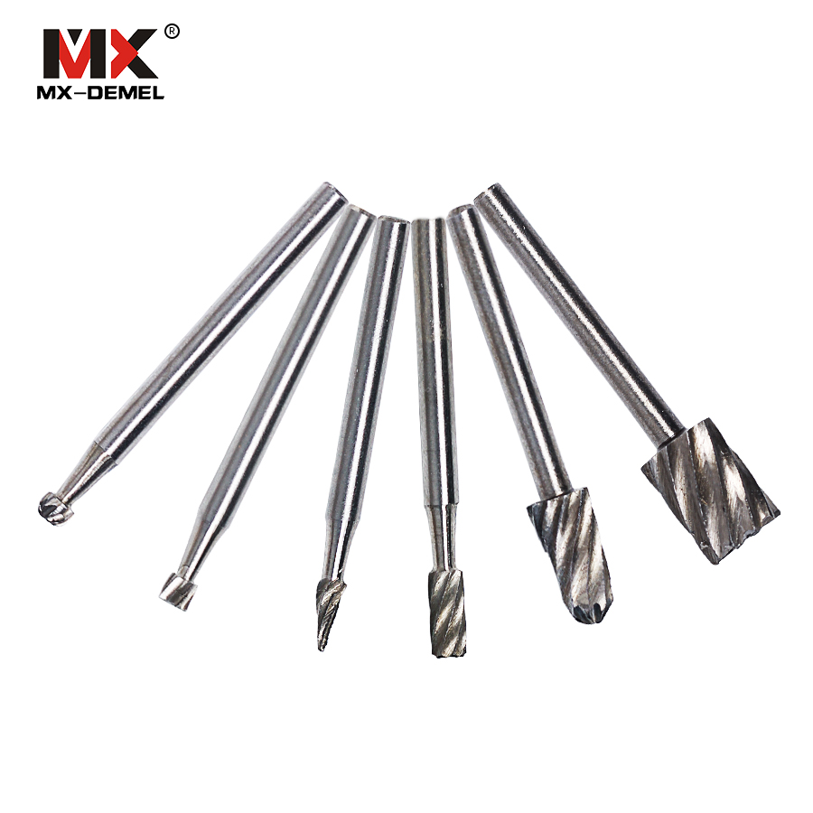 MX-DEMEL 6PCS HSS Dremel Rotary Tool Mini Drill Bits Burr Set Dremel Tools for Woodworking Carving Tools Kit Dremel Accessories mx demel high quality 17pcs 1 2 felt polishing wheels dremel accessories fits for dremel rotary tools dremel tools small