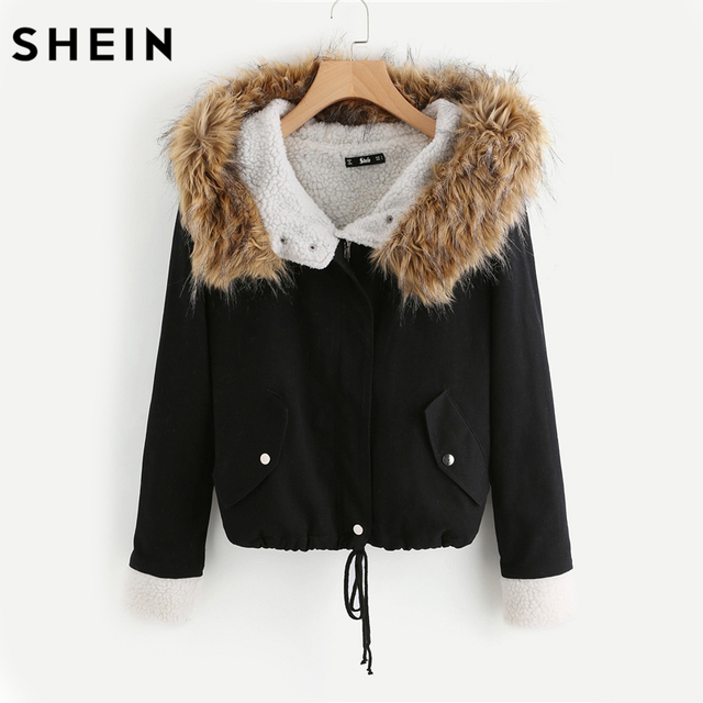 d26e8bd78b SHEIN Fleece Lined Jacket With Faux Fur Trim Hood Cotton Outerwear Coats  Casual Black Winter Hooded