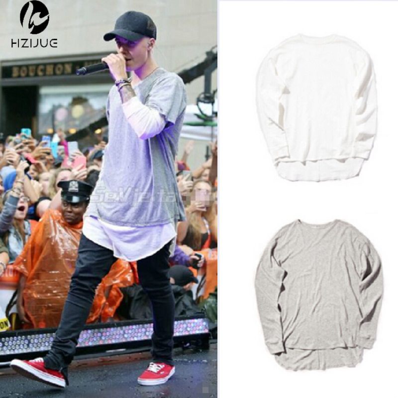HZIJUE Hipster men justin bieber clothes streetwear brand clothing long sleeve plain extended   t     shirt   curved hem tee