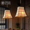 Американский кантри стиль ретро подвесной светильник декоративный кованый железный бар промышленный подвесной светильник тканевый абажу...
