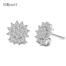 Cute lovely real 925 stud earrings Crystal Shiny jewelry OL Jewellery oorbellen Elegant sterling silver Gifts for Women earring