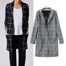 Women Fashion Coat 2016 Fall Winter England London Style Vintage Plaid Slim Long Jacket Coat Casacos Femininos Black Gray 5137