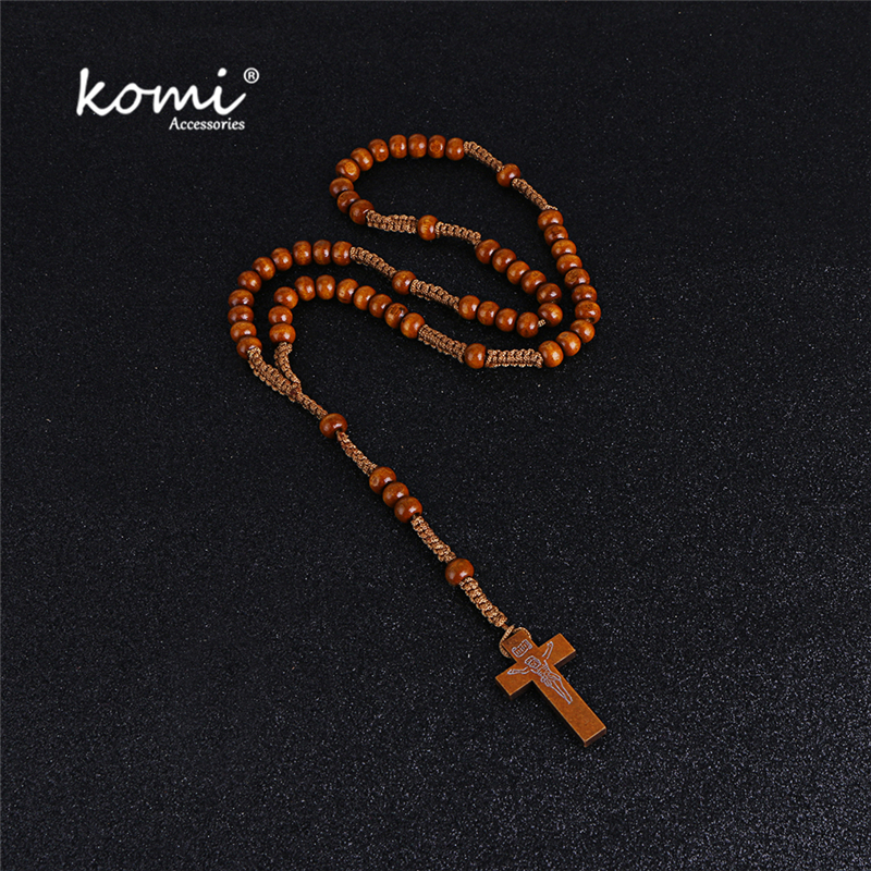 Komi Prayer Rosary Beads Cross Necklace Long Pendant Rosary Necklaces Factory Wholesale Religious Jewelry
