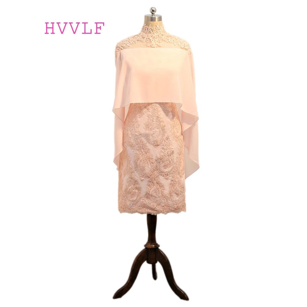 Pink 2018 Sheath High Collar Knee Length Chiffon Appliques Lace Short Elegant Cocktail Dresses Mini Homecoming Dresses