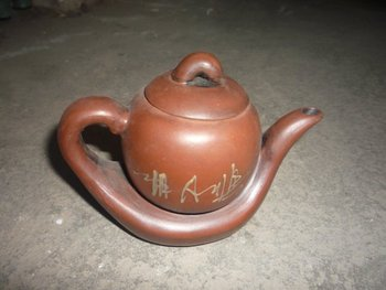 unique Old Chinese Handcraft Enameled red stoneware-----YiXing Zisha Teapot,has a base,with mark,Free shipping