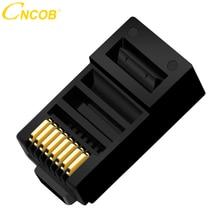 cncob Cat5E 8P8C Modular Ethernet Cable Connector Crystal Plug Crimp Network RJ 45 Black 30pcs