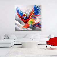 Colorful Hawk Painting Home Decor Wall Art Large Knife Funny Eagle Pictures Handpainted Abstract Cartoon Oil Paintings on Canvas