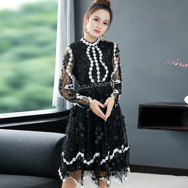 2018 Autumn Pretty Appliques Mesh Dress Women High Quality Sweet Full Sleeve Knee Length Slim Mesh