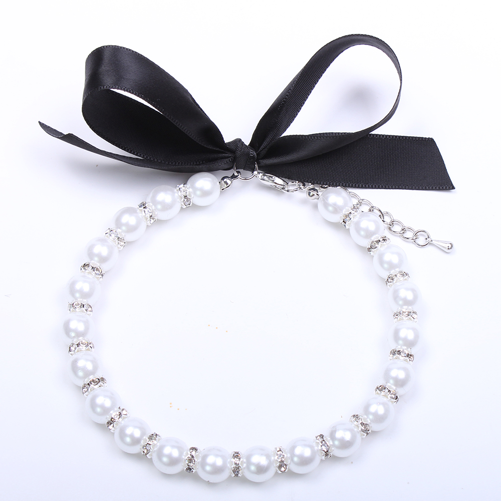 Pearls Dog Necklace Cat Collar with Bling Accessories font b Pet b font Puppy Jewelry for