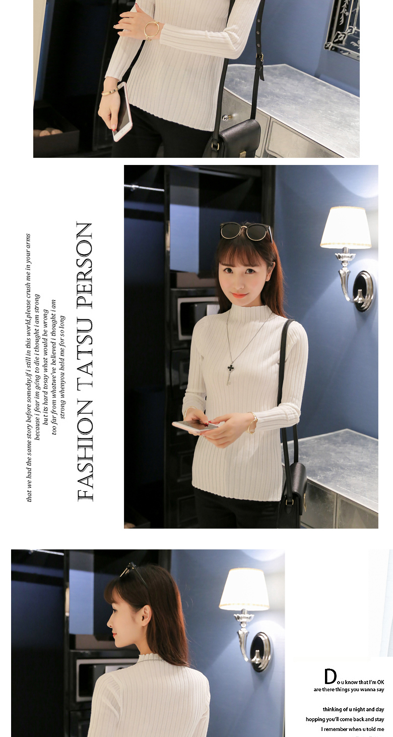 19 Autumn and winter New Korean Half turtleneck Sweater jacket Womens Long Sleeve Set head All-match knitted Sweater woman 20