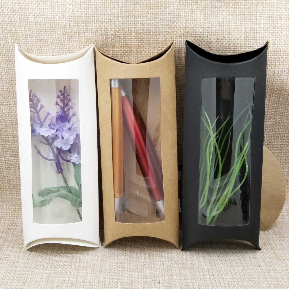 10pc 16*7*2.4cm Brown/white/black Cardboard Pillow Window Box With Clear Pvc For Proucts/gifts/favors/display Packing Show