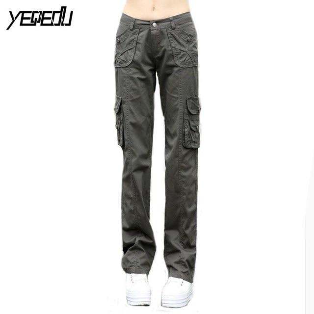 #0910 Весна 2016 Камуфляж брюки моды Прямо Свободно Армейские брюки для женщин Khaki cargo pants женщины Женский Sportwear