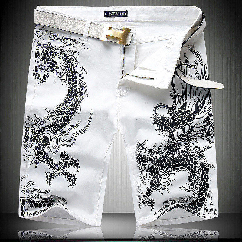 Chinese style Black Dragon pattern knee length white jeans New fashion trend quality denim pants personality