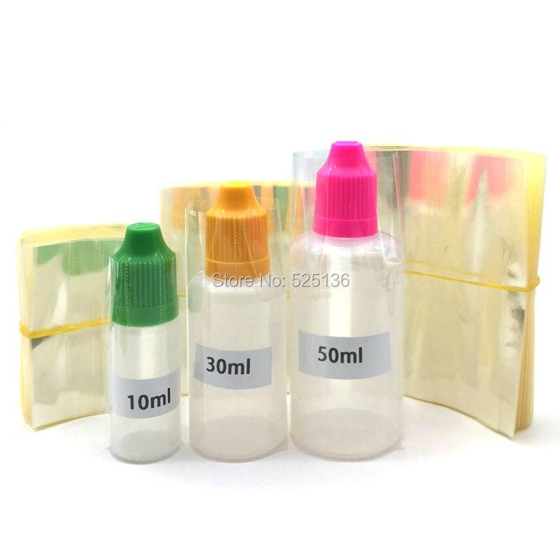2000Pcs Clear PVC Shrink Wrap Film Tube for 5ml 10ml 15ml 20ml 30ml 50ml Plastic Bottle