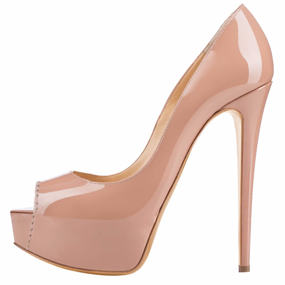 2016 New Fashion Customize slip-on Sexy Women's shoes solid PU leather platform pumps shoes peep toe high heels big size5-15 fashion color patchwork pu leather strange heel shoes sexy peep toe cut out heel slip on pumps trend party date shoes
