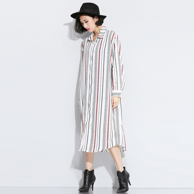 2e05f2b03d38 Spring autumn woman fashion stripe long-sleeve BF oversize maxi shirt dress  maxi cardigan x-long blouses plus size FF43
