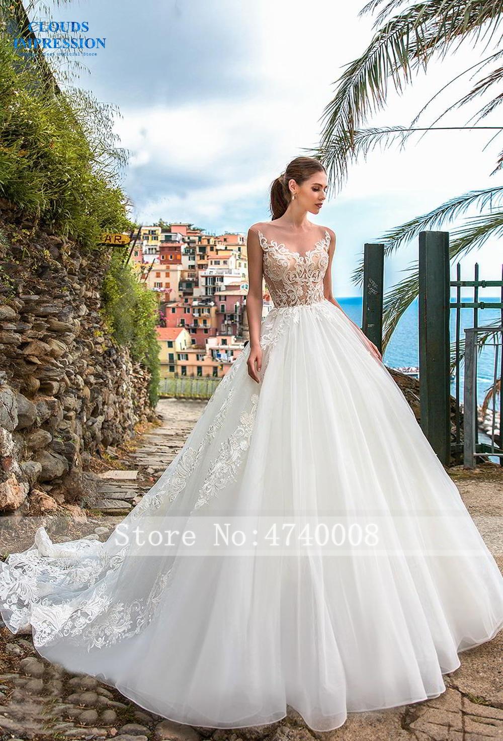 CLOUDS IMPRESSION Sexy A Line Wedding Dresses 2019 Appliques Vestido De Novia Gorgeous Beading White Bridal Gown Bride Dress