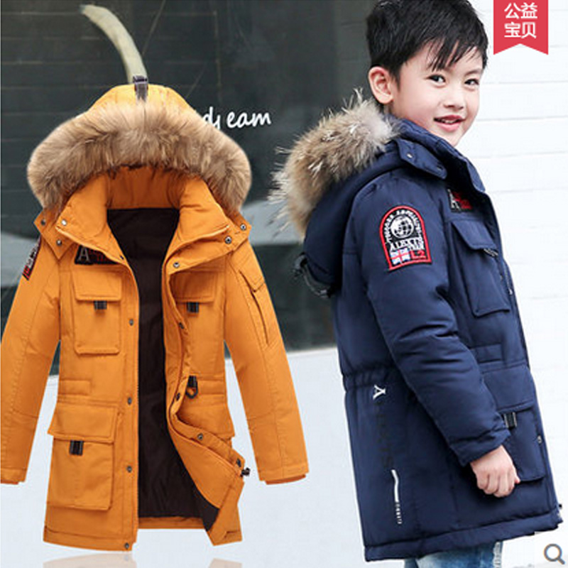 -40 Children Winter Jacket Duck Down Longer Thicker Boys Girls Coat Kids Winter Down Jacket Warm Hooded Clothes Outerwear