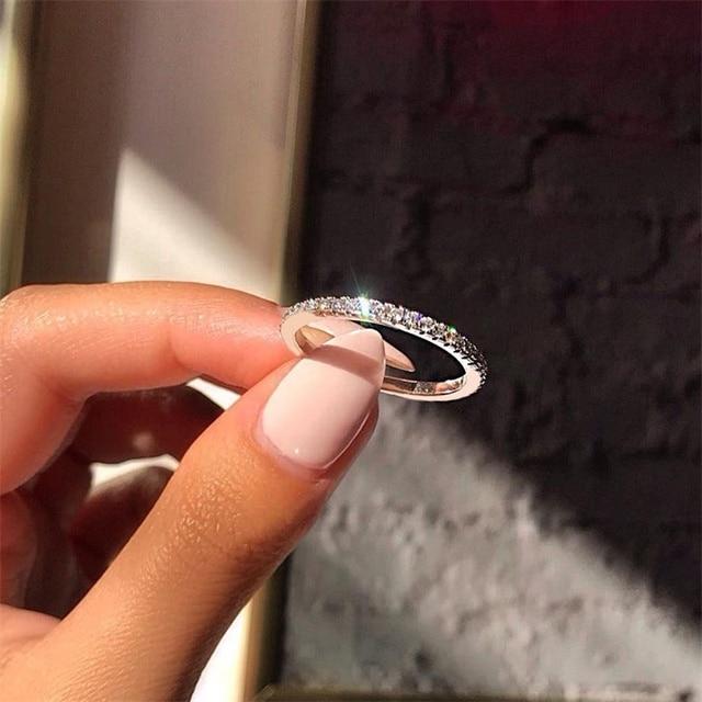 Anel casal de mulheres quente broca única linha anel de ouro rosa jóias