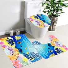 Colorful Set of Bathroom Mats and Toilet Cover
