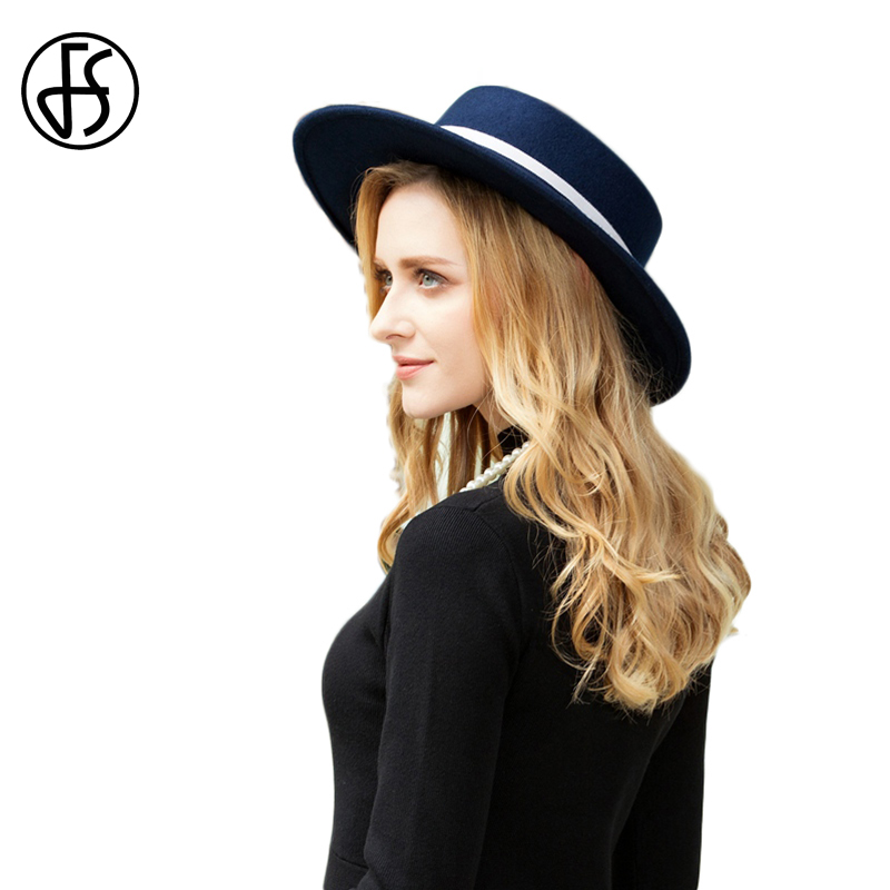 FS 2019 Wool Felt Hats Women Fedora Hat Wide Brim Navy Blue Elegant Lady Ribbon Autumn Winter Flat Top Cloche Bowler Hats