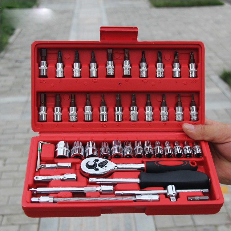 Free shipping, 46 pcs set steel auto sleeve combination tool wrench set of hardware car repair tools socket hot combination socket set ratchet tool torque wrench to repair auto repair hand tools for car kit a set of keys yad2001